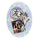 Friends & Fower Oval 1-Sided Ornament - Ornament (Oval)