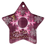 Purple pink Plaid snowflake Baby s 1st Christmas 2010 ornament  130 - Ornament (Star)