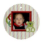 Happy Holidays Baby s First Christmas Ornament 1001 - Round Ornament (Two Sides)