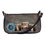 Beautiful blue dotted and flower shoulder clutch - Shoulder Clutch Bag