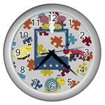 Silly Summer Fun Clock - Wall Clock (Silver)