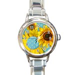 Sunflower & sunshine-Italian Charm Watch - Round Italian Charm Watch