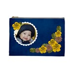 L- cosmetic Case Yellow and Brown flowers - Cosmetic Bag (Large)