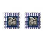 Blue Plaid Picture Cufflinks - Cufflinks (Square)