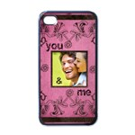 art nouveau you and me pink i phone case - iPhone 4 Case (Black)