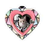 Stained Glass Heart Dog Tag - Dog Tag Heart (One Side)