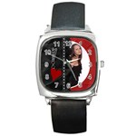 Funky Black/Red Square Metal Watch