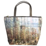 weathered cityscape bucket bag
