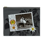 Charcoal Floral XL Cosmetic Bag - Cosmetic Bag (XL)