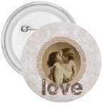 love 3 inch button badge - 3  Button