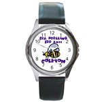 spelling bee watch thick font - Round Metal Watch