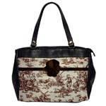 Brown Flower Toile Warm Fuzzy Tote Bag - Oversize Office Handbag