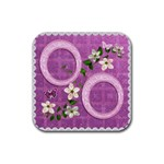 Spring Flower floral purple square rubber coaster - Rubber Coaster (Square)