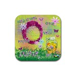 Spring Flower floral easter yellow square rubber coaster - Rubber Coaster (Square)