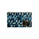 Brown Blue Polka Dot Warm Fuzzy Cosmetic Bag - Cosmetic Bag (Small)