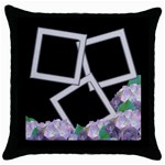 Silver and Lilac Throw Pillow - Throw Pillow Case (Black)
