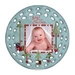 Baby s First Christmas Double Sided Filigree Ornamant - Round Filigree Ornament (Two Sides)