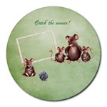 Catch the mouse! mousepad - Collage Round Mousepad