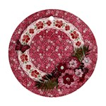 Pink Flowers-round ornament (2 sides) - Round Ornament (Two Sides)