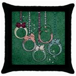 Christmas ornaments/grandkids- pillow 1 side - Throw Pillow Case (Black)