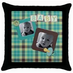 baby boy pillow - Throw Pillow Case (Black)