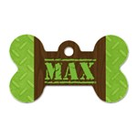 Manly/wood grain- bone dog tag (2 sides) - Dog Tag Bone (Two Sides)