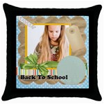 back to school - Throw Pillow Case (Black)