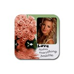 Apricot roses love coaster - Rubber Coaster (Square)