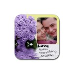 mauve roses love coaster - Rubber Coaster (Square)