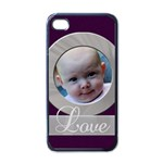purple love case - Apple iPhone 4 Case (Black)