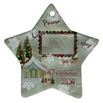 village peace love joy 2011 Christmas ornament 2 SIDE - Star Ornament (Two Sides)