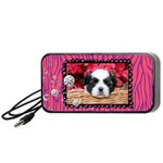 Hot Pink Zebra & glitter-portable speakers-black - Portable Speaker (Black)
