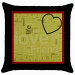 text art - blk cushion -01 - Throw Pillow Case (Black)