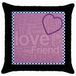 text art - blk cushion -02 - Throw Pillow Case (Black)