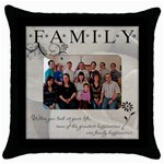 Family Pillow - Throw Pillow Case (Black)