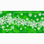8x4 photo greeting card green snowflakes - 4  x 8  Photo Cards