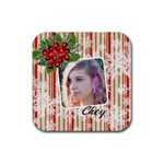 Coaster multi snowflakes berries - Rubber Coaster (Square)