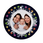 Snowflake Fairy Lights Round double sided ornament - Round Ornament (Two Sides)