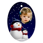 Snowmen Oval Ornament (2 sided) - Oval Ornament (Two Sides)