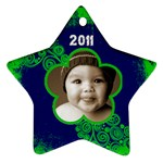 Scroll Upon a Star lime and cobalt 2011 star ornament - Ornament (Star)