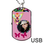 Fairy pink USB one side - Dog Tag USB Flash (One Side)