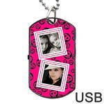 Pretty skull  usb 2 sides - Dog Tag USB Flash (Two Sides)