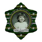 Green Merry Christmas - Snowflake Ornament (Two Sides)
