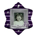 Purple butterfly glass frame bubble christmas - Snowflake Ornament (Two Sides)