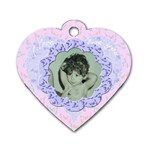 I love you Pink blue flower heart dog tag - Dog Tag Heart (Two Sides)