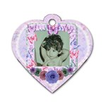 Beautiful butterfly girl heart flower dog tag - Dog Tag Heart (Two Sides)