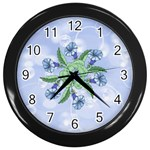 Blue Flower Clock - Wall Clock (Black)