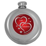 Love Silver and Red Hip Flask - Hip Flask (5 oz)