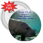 Manatee Button - 3  Button (100 pack)