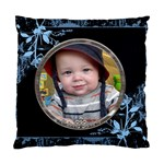 Blue Floral Cushion Case (1 Sided) - Standard Cushion Case (One Side)